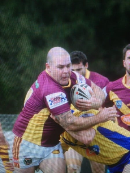 Country Legend the Mudgee mauler Aaron Weatherley with a bulldozing run